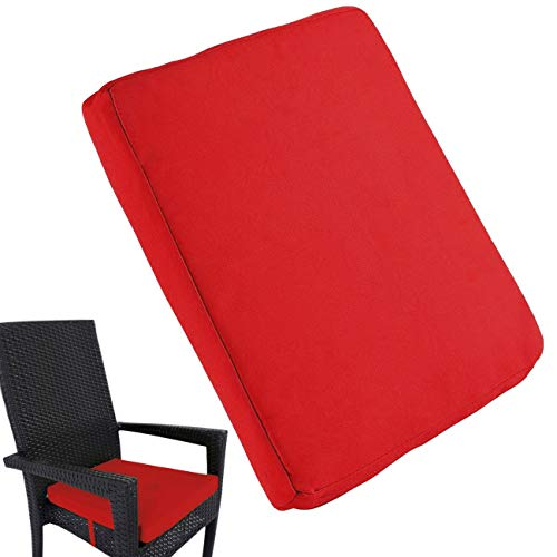 Uheng 4 Pack Patio Outdoor Chair Cushions with Ties, Seat Pads Mat, Waterproof Removable Cover, Comfort Memory Foam Nonslip for Garden Deck Picnic Beach Pool -18' X 18'(Red)