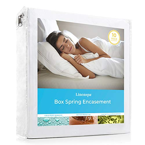Linenspa Waterproof Proof Box Spring Encasement Protector-Blocks out Liquids, Bed Bugs, Dust Mites, Allergens, King