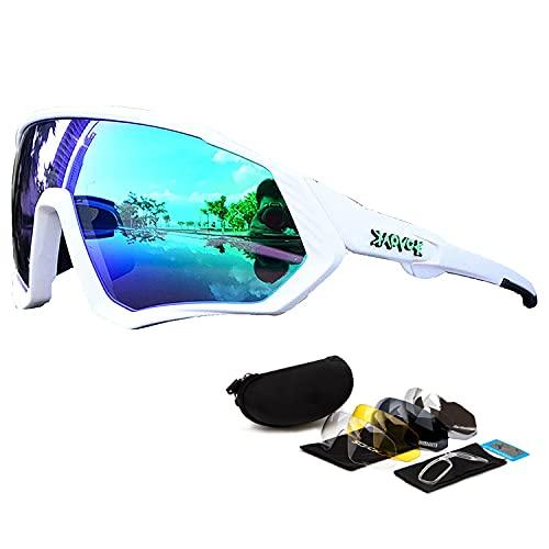 Gafas Deportivas Gafas de Ciclismo Polarizadas Gafas de Bicicleta MTB Mujeres Hombres Protección Uv400 con 5 Lentes Intercambiables O Motocicleta con Montura de Miopía/Estuche para Gafas