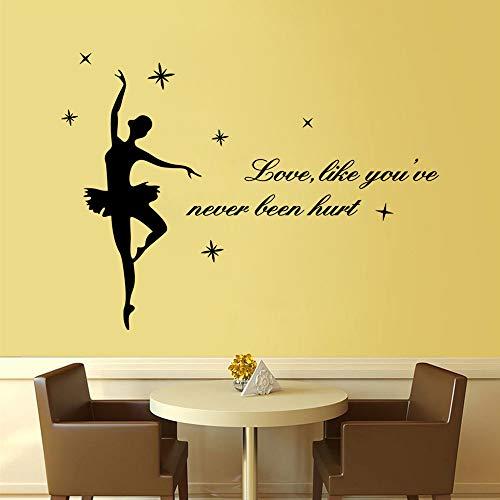 Liefde, wie je nog nooit gewond worden citaten decoratieve muurstickers dans meisjes Home Decor Decals Posterbehang