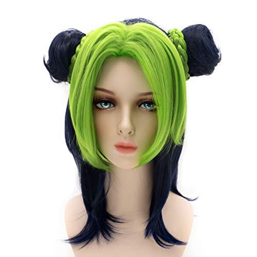 Sugoicos The Wonderful Adventure of JoJo Jolyne Kujo Cosplay Show Wig Japanese Anime Wig-Green&Blue Black Friday sales Christmas presents