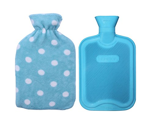 HomeTop Premium Classic Rubber Hot or Cold Water Bottle with Soft Fleece Cover (2 Liters, Blue/Blue Polka Dot)