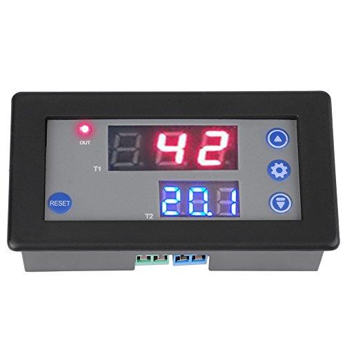 12V 10A Relé de Retardo de Temporización,DC 1500W 0-999s / 0-999m / 0-999h Módulo de Relé de Retardo de Temporización Ciclo Temporizador LED digital Pantalla dual