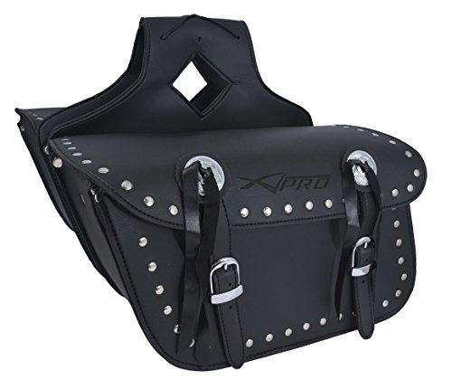 Borsa Bisacce Moto Customo Chopper Borchie Cromate Nero Saddle Bags