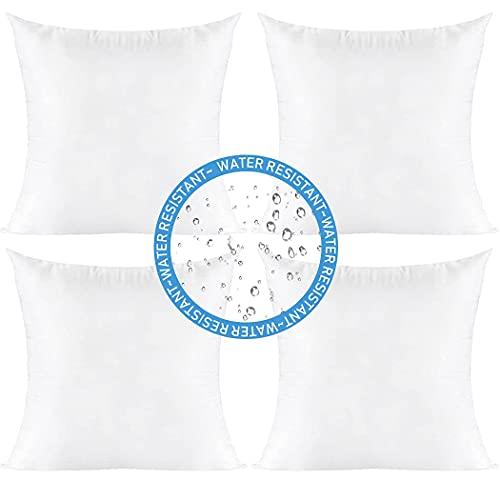 Pack de 4 insertos de almohada para exteriores, resistentes al agua, cuadrados, decorativos, fundas para sofá, fundas de cojín para cama, sala de estar, jardín, banco de patio (45 x 45 cm)