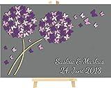 Livingstyle & Wanddesign Personalisierte 3D Pusteblumen aus Holz inkl. Staffelei zur Hochzeit mit Schmetterlinge