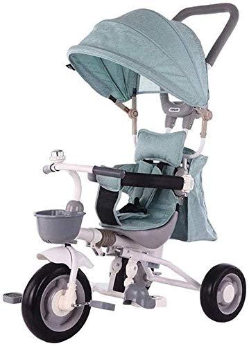 Pkfinrd kindertrikes peuter fiets peuter driewieler 4-in-1 ouder duwen driewieler voor kinderen met verstelbare stoel met luifel verstelbare hoogte duwen rit driewieler baby producten