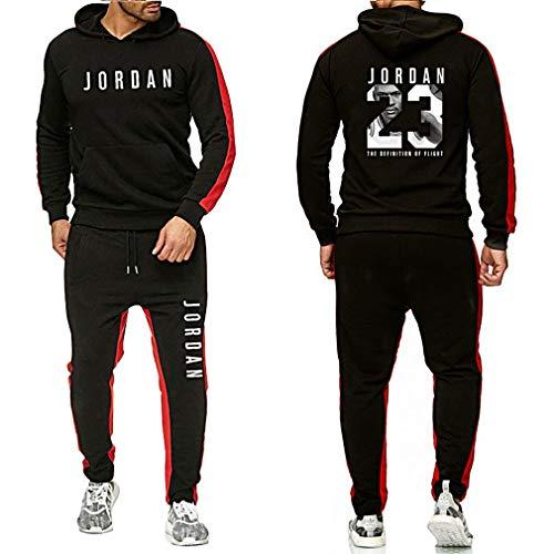 Gofei Herren Damen Basketball Uniform Jogger Hoodies Sportwear, 23# Jordan Basketball Trikot Sweatshirt Hose Set Basketballhemd Fitness Tracksuits Trainingsanzug Jogginganzug