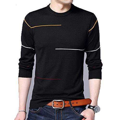 Cashmere Wool Sweater Men Clothing Winter Slim Warm Sweaters O-Neck Pullover Men Top Black S