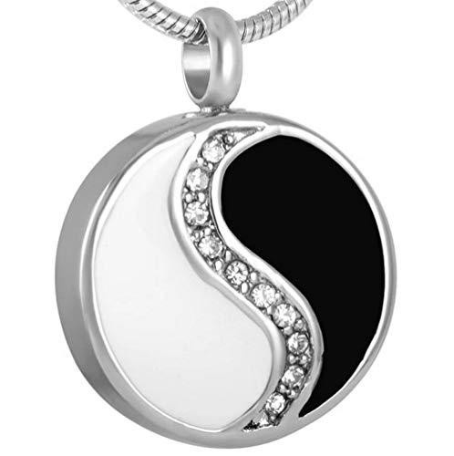 yyygg Collar De Cremación Collar de urna de cremación de Acero Inoxidable para Hombre Tai Chi Ocho diagramas Yin Yang Amuleto Colgante Cristal Recuerdo Cenizas urnas joyería