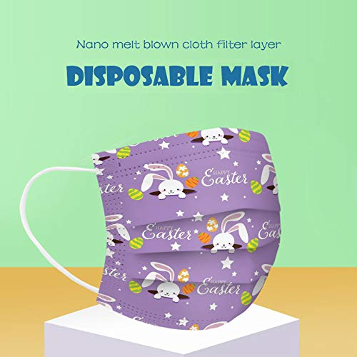 CawBing Easter Adult Disposable_Face_mask_protection Soft Breathable 3 Ply Popular Easter Eggs and Rabbit Printing Face_mask_protection for Outdoor Anti-dust (10 Pcs)