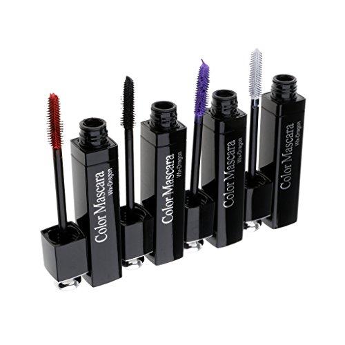 4x Bunte Mascara, wasserfest und mehrfarbig Wimperntusche zur Wimpernverlängerung - Club Party Wimpern Makeup Set - 5-8#