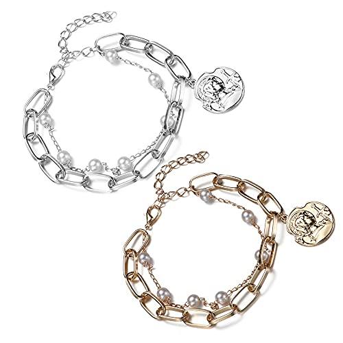 Pulsera de perlas de cadena de doble capa con forma de corazón de oro