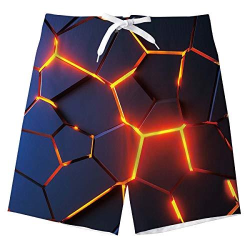 Jungs Sweatpants Shorts Süß 3D Lava Lustige Sommer Strand Shorts Schwimmen Badeshorts Kinder Badeanzug mit Taschen 10-12 Jahre