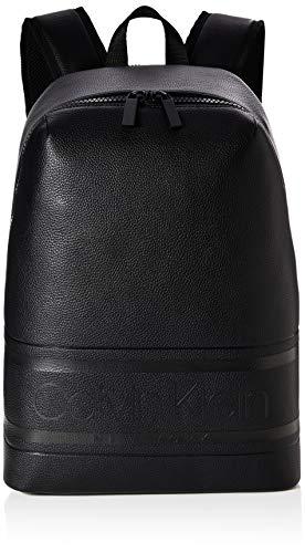 Calvin Klein - Striped Logo Pu Round Backpack, Mochilas Hombre, Negro (Blackwhite Black), 1x1x1 cm (W x H L)