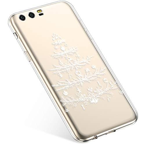 Uposao Coque pour Huawei Honor 9 Etui Silicone TPU Souple Transparente Coque Noël Cerf Flocon de Neige père noël Sapin de Noël Elk Christmas Motif Ultra Mince Premium Hybrid Case Coque.