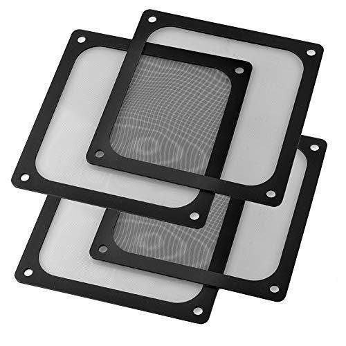 S SIENOC 4 x 140mm Filtro de Polvo Filtro de Ventilador de Ordenador Cubierta Antipolvo Negra de Magnético PVC Malla de Ordenador (4 x 140mm, Negro)