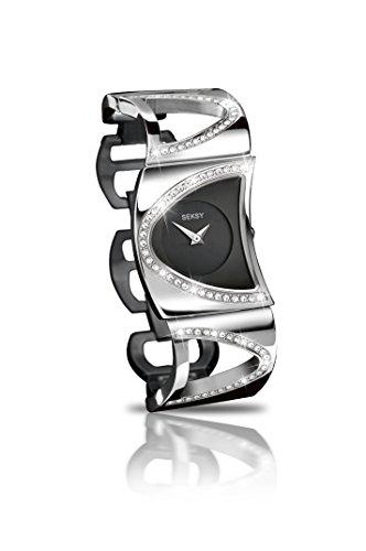 Seksy By Sekonda 4117 Orologio da donna con quadrante analogico nero e cinturino in acciaio INOX color argento