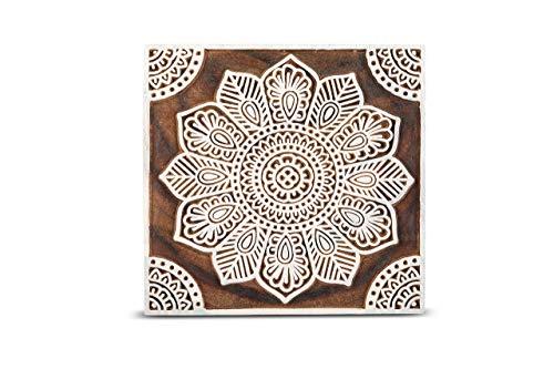 GroupB Bloques de impresión de madera tallada a mano sello de madera con diseño para impresión de tela, cerámica de arcilla, manualidades, impresión de álbumes de recortes y más - Design44