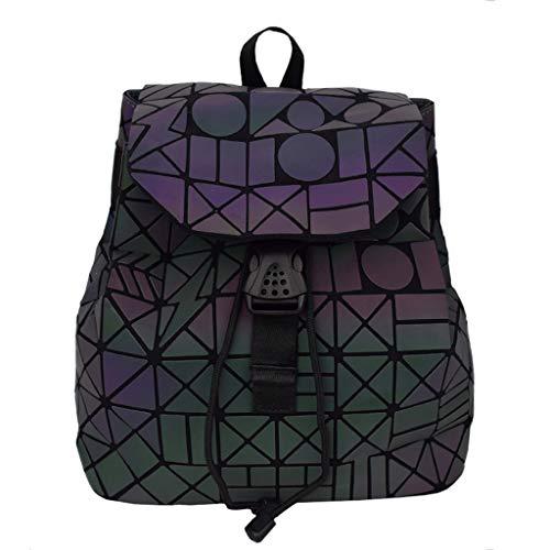 Mochila GeoméTrica Para Mujer Mochila Escolar Con LáSer Lingge, Bolsa De Hombro Doble Reflectante HolográFica Backpack Universitaria De Viaje-lightning