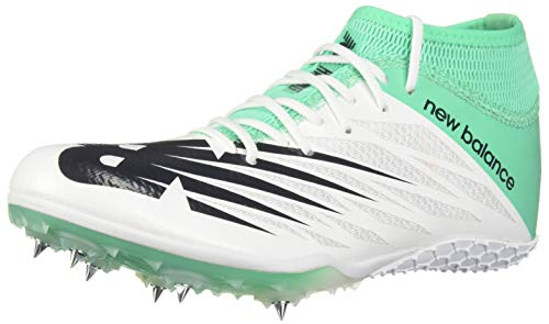 New Balance Women's Short Distance 100 V2 Spike Running Shoe, White/neon Emerald, 9.5 B US