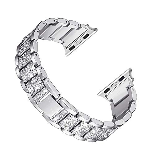 Fhony Correa Compatible con Apple Watch 38mm 40mm 42mm 44mm Correa Reemplazo Metal Inoxidable para iWatch Serie 6/5/4/3/2/1 Hombres Mujeres Cristal Rhinestone Bling Correa,Plata,38/40mm