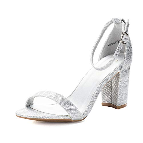 DREAM PAIRS Women's Chunk Silver Glitter Low Heel Pump Sandals - 11 M US