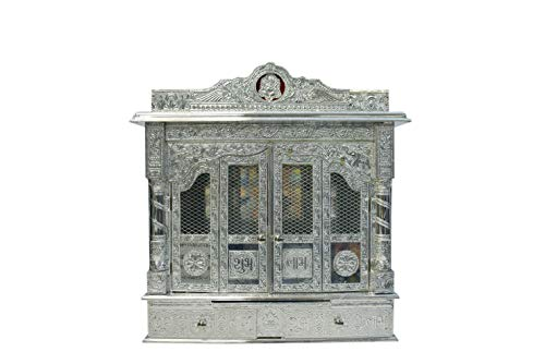 Puja Mandir - Wooden Pooja Temple 25' Pure Silver Color Mandir with Doors - Fully Assembled