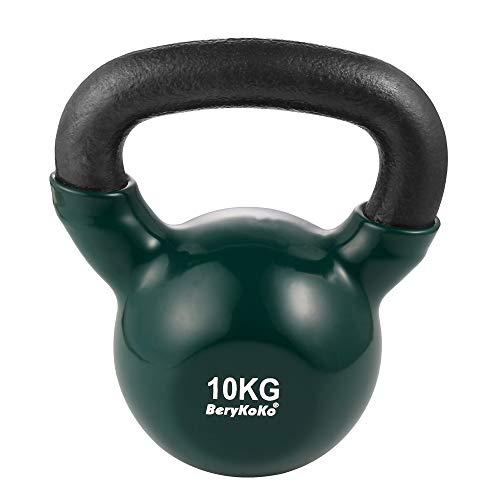 BeryKoKoケトルベル(色:グリーン 10kg) コーティング エクササイズ 正規品/18ヶ月保証 4kg/6kg/8kg/10kg/12kg/16kg/20kg/24kg 体幹トレーニング 筋トレ 筋力トレーニング シェイプアップ ([e] 10kg