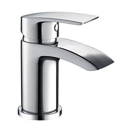 Waschtischarmatur Wasserhahn Bad Waschbeckenarmatur Einhebelmischer Waschtischbatterie Badarmatur Armatur für Bad Chrom Wasserfall