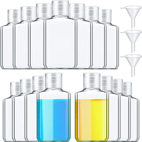 15 Pieces 2 oz Clear Plastic Empty Bottles Refillable Travel Containers Leak-proof Travel Cosmetic Bottles with Flip Cap with 3 Funnels for Shampoo, Lotion, Liquid, Cream, Essential Oil