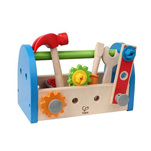Banco de Herramientas para Niños Caja de herramientas de juguete de madera - Juego de juguetes de construcción - Incluye herramientas de madera Handmer Spanner Spanner Destornillador y accesorios Torn