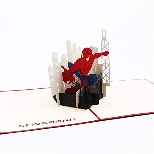 Uniqueplus Spider Man Creative 3D Pop Up Greeting Cards Regalo Per Bambini, Compleanni O Qualsiasi Occasione