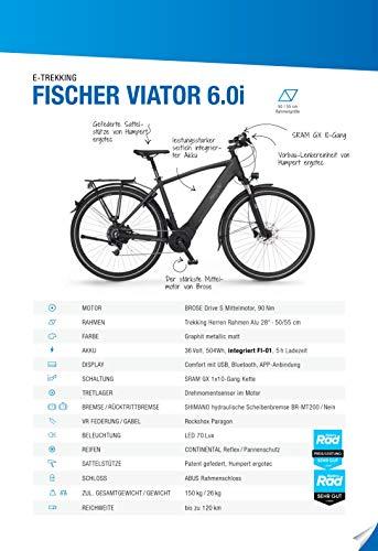 FISCHER Herren – E-Bike Trekking VIATOR 6.0i (2020), grau matt, 28 Zoll, RH 50 cm, Brose Drive S Mittelmotor 90 Nm, 36V Akku im Rahmen Bild 5*