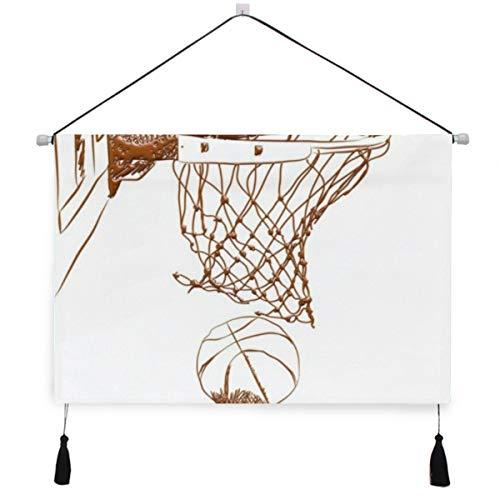 ELIENONO Cartel colgante de lona,Marrón Resumen Puntuación Puntos ganadores Baloncesto Net 3D Deportes Recreación Arena Chocolat,tapiz decorativo para decoración de arte de pared de dormitorio de