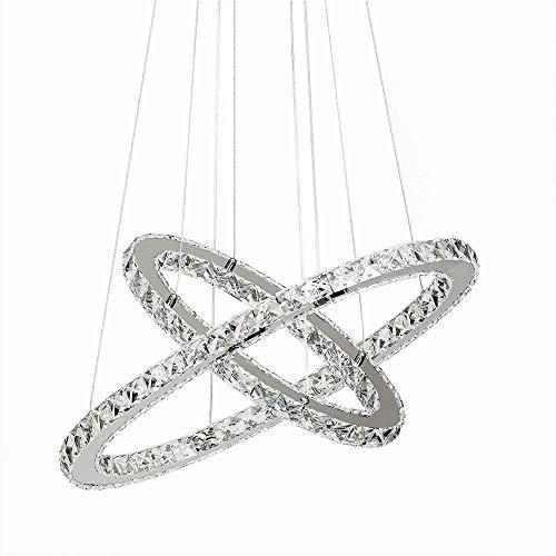 48W LED Kristall Design Hängelampe Deckenlampe Deckenleuchte Pendelleuchte Kreative Kronleuchter Zwei Ringe Kaltweiß Lüster
