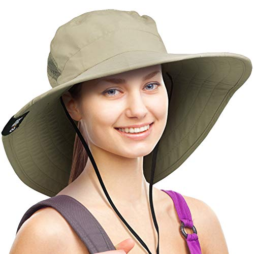 Wide Brim Sun Hat Outdoor UV Protection Safari Cap for Women (Olive)