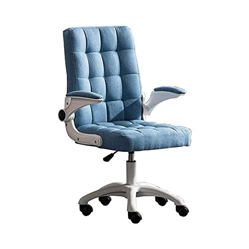 n.g. Wohnzimmerzubehör Bürostuhl Computerstuhl Verstellbare Armlehnen und Höhe Stoff Schreibtischstuhl für Schlafsaal Büro Schlafzimmer Belastbar 120kg (Farbe : Blau)