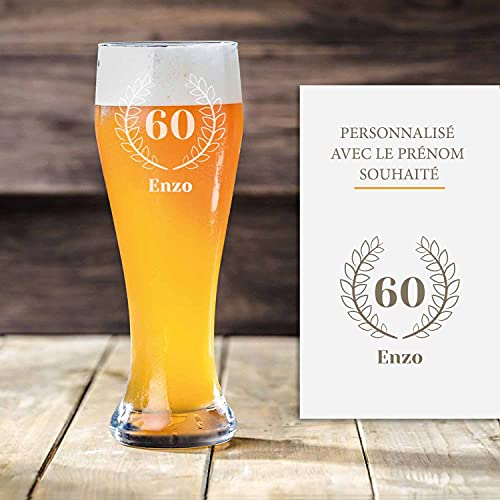 Verre à bière blanche personnalisé 60 ans | Avec gravure | Verre à bière premium avec prénom| Idée cadeau anniversaire pour hommes