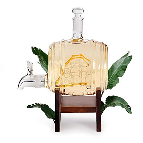 GYN Decantatore per Whisky a Forma di Botte Creativa,Bottiglie Whisky Vetro Senza Piombo,Decanter per Vino per la Casa, Ristorante, Feste e Ricevimenti,Regalo Perfetto