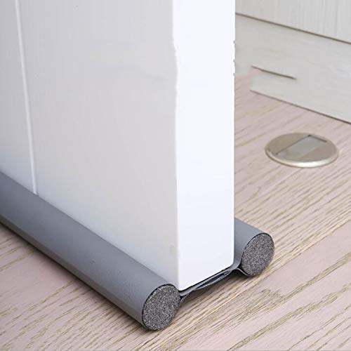 96 cm (3 Piezas) Tira de Sellado Burlete Bajo Puerta Tira Espuma para Puerta Aislamiento Acústico/a Prueba de Viento/Anti-Bug de Sellado,Burlete de puerta doble para aislar del frío (Gris)