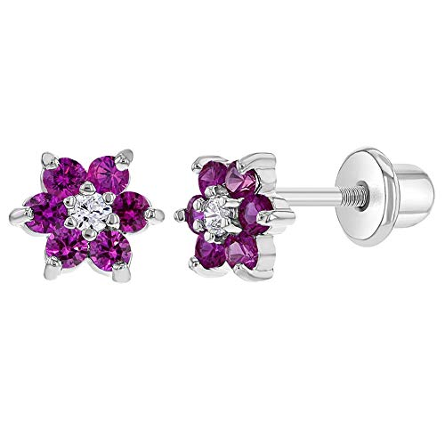 Rhodium Plated Flower Fuchsia Pink Crystals Screw Back Earrings for Babies Kids