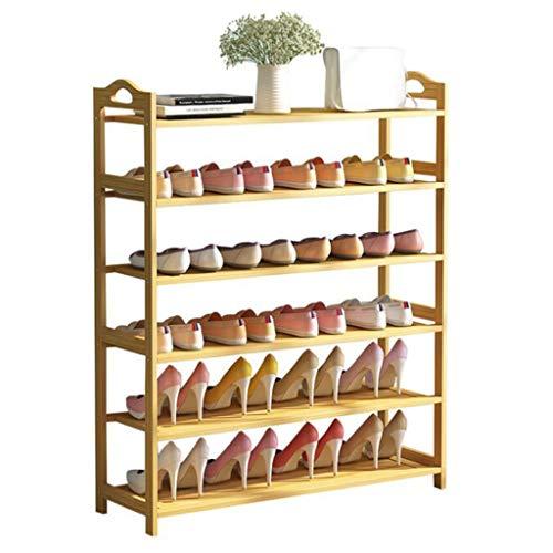 XWZH Zapatero a prueba de polvo, zapatero de bambú de 6 niveles, organizador de almacenamiento para zapatos, estante de entrada hecho de bambú 100% natural (tamaño: 106 x 25 x 100 cm)