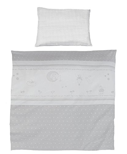 roba Wiegenbettwäsche 2-tlg, Wiegenset Kollektion 'Glücksengel grau', Baby Bettwäsche 80x80 (Decke & Kissen), 100% Baumwolle