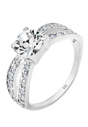 Elli Ring Damen Solitär Glamourös mit Swarovski® Kristall in 925 Sterling Silber
