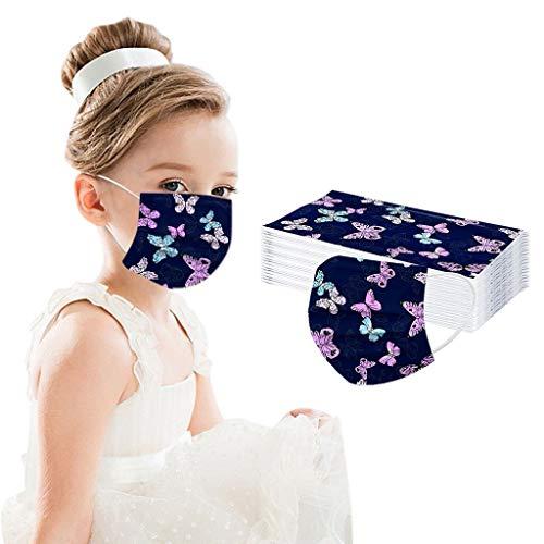 Woohooens Bambino 50/100 Pezzi Tessuto Viso Cotone Stampa Farfalla Rosa Antipolvere Visiera Bocca Faccia USA e Getta 3 Strati Adatto per Bambino