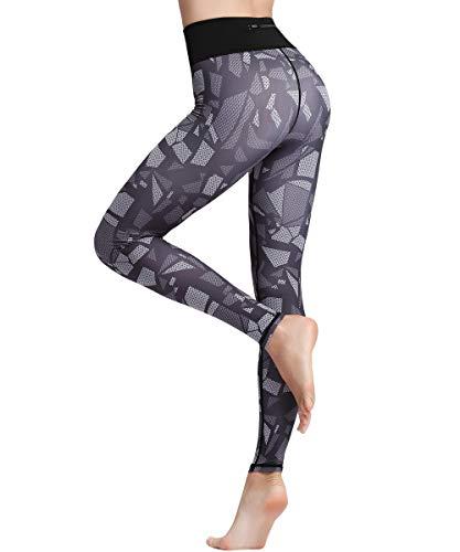 HAPYWER Damen Leggings Lang Sport Yoga Hose Hohe Taille Training Tights Gym Pants Laufhose(Cube,L)