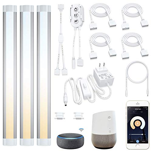 Smart Under Cabinet Lights Work with Alexa Echo, Google ,Siri, LED Light for Kitchen Shelf Counter Lighting with App, Voice Activated Dimmable and Linkable Warm to Cool White (3 Lights Bar Kit)