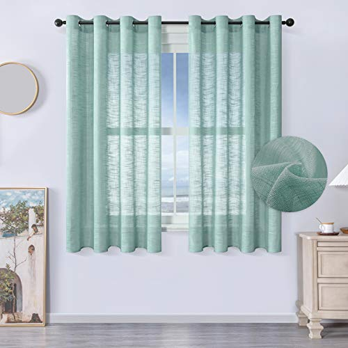 MRTREES Voile Gardinen kurz 2er- Set Leinenoptik Vorhang mit Ösen im Modernen Stores Gardinen Schals Grün 160×140 (H×B) für Wohnzimmer Schlafzimmer Kinderzimmer