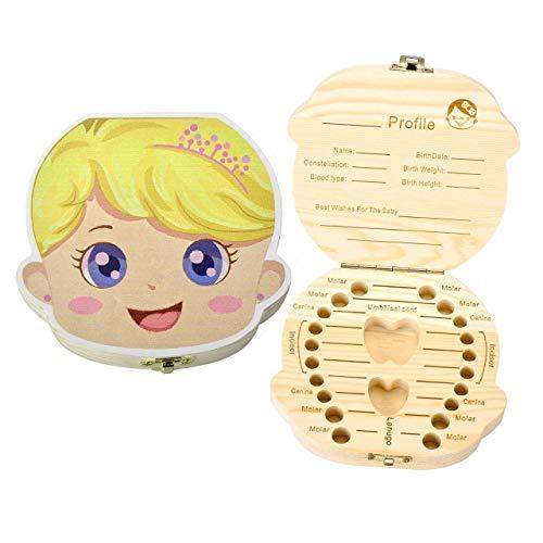 Boîte à Dents de Lait pour Bébé Dents,Boîte à dents pour enfants, boîte de rangement en bois, Boîte à Souvenirs,Cadeau Naissance Baptême Anniversaire pour Enfant Fille Garçon (Française-Fille)